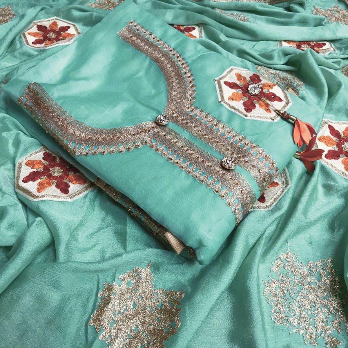 Appealing Aqua Green Colored Partywear Embroidered Chanderi Silk Salwar Suit