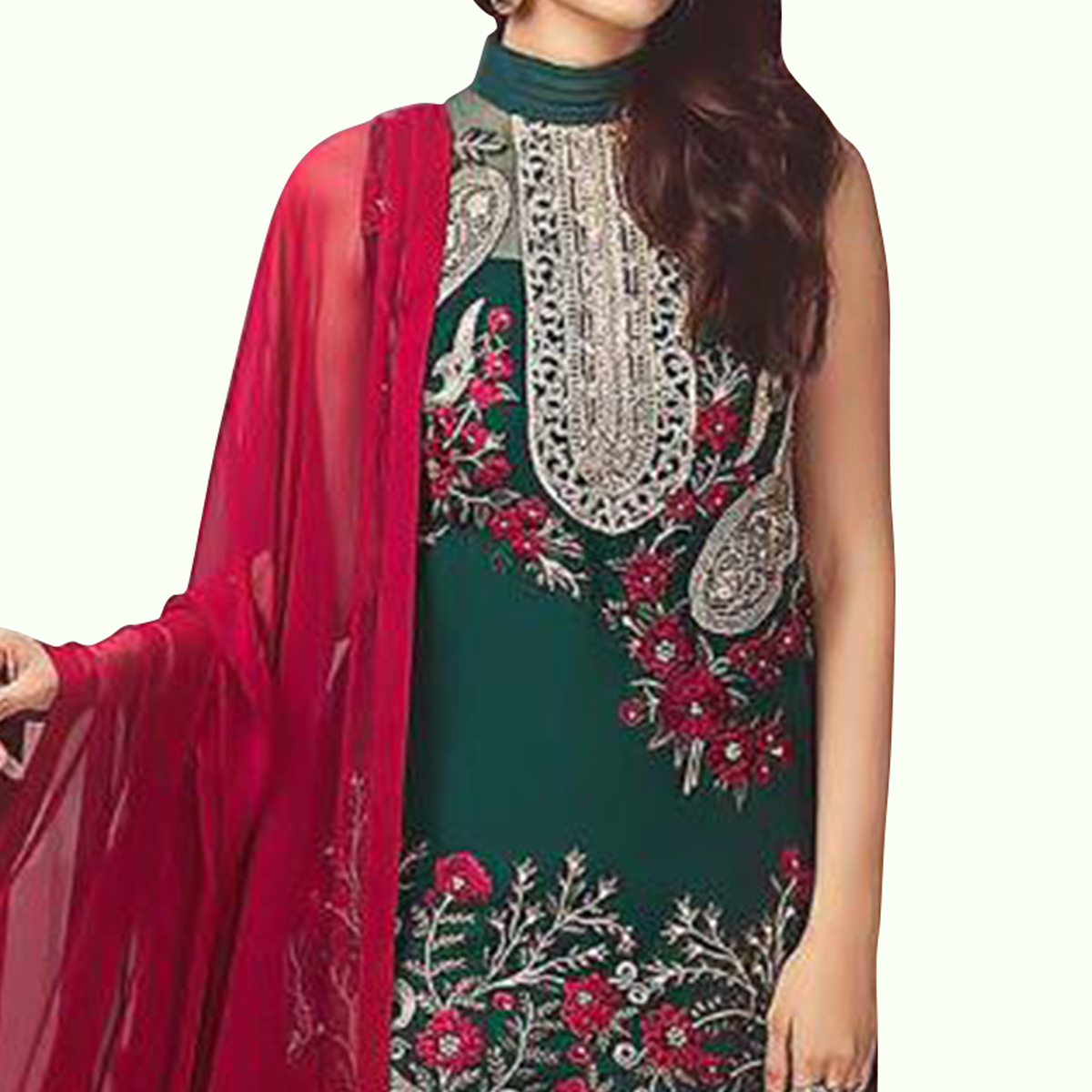Fantastic Ocean Green Colored Partywear Embroidered Faux Georgette-Netted Suit