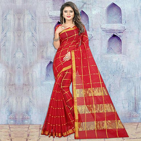 Red Festive Wear Manipuram Silk Saree