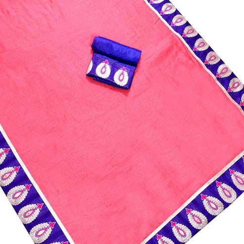 Adorning Pink Colored Jacquard Border Chanderi Silk Saree