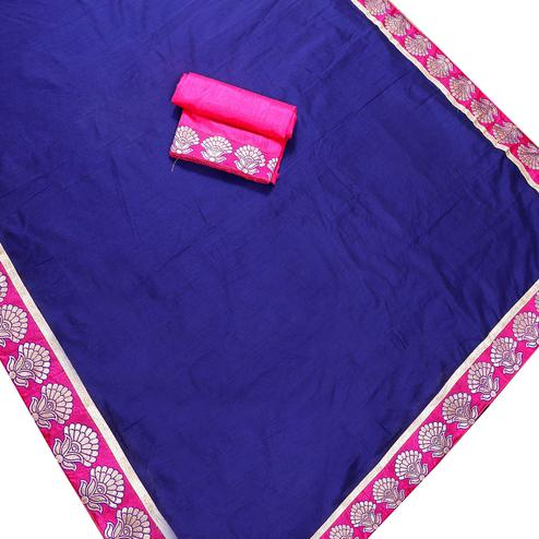 Appealing Navy Blue Colored Jacquard Border Chanderi Silk Saree