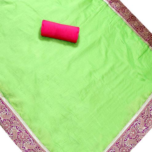 Intricate Green Colored Jacquard Border Chanderi Silk Saree