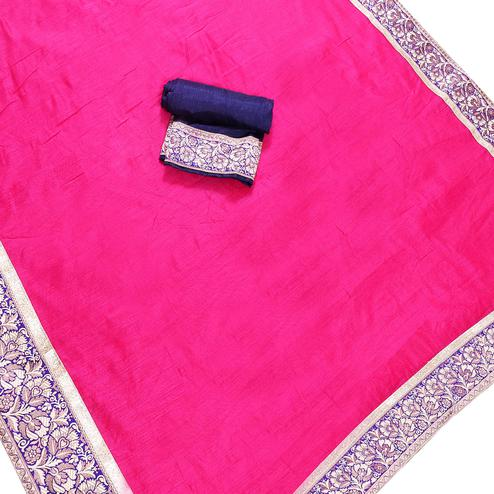 Arresting Hot Pink Colored Jacquard Border Chanderi Silk Saree