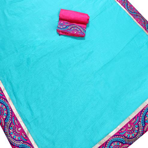 Desirable Sky Blue Colored Jacquard Border Chanderi Silk Saree