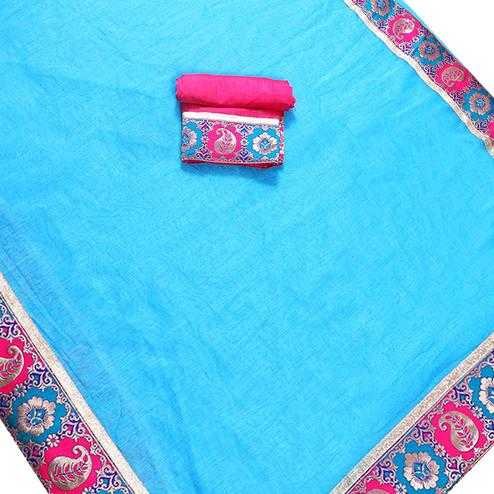 Exotic Sky Blue Colored Jacquard Border Chanderi Silk Saree