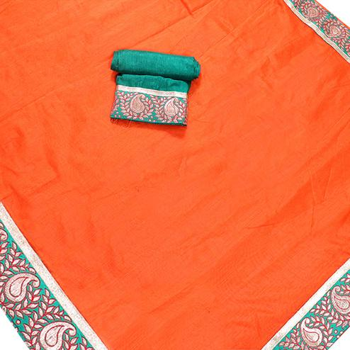 Flaunt Orange Colored Jacquard Border Chanderi Silk Saree