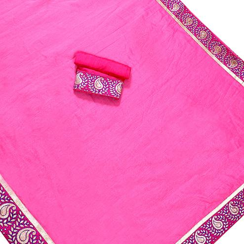Stunning Pink Colored Jacquard Border Chanderi Silk Saree