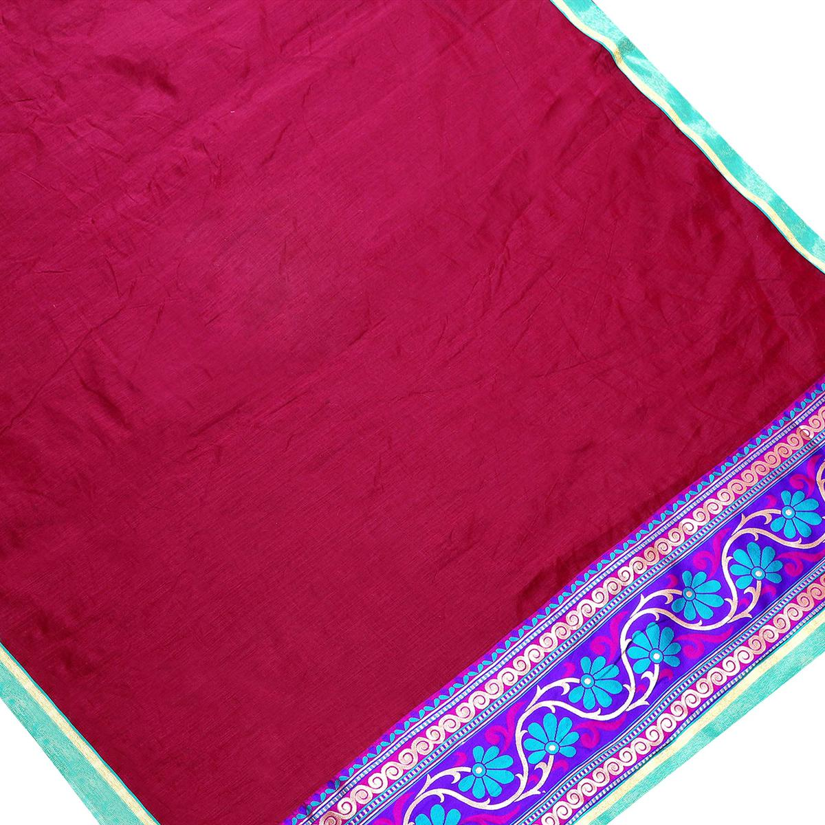 Flirty Maroon Colored Jacquard Border Chanderi Silk Saree