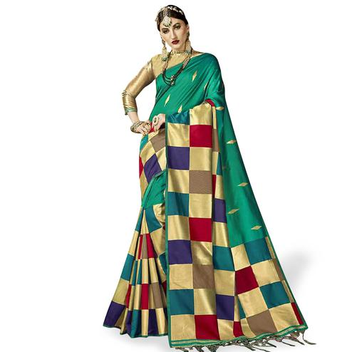 Glorious Turquoise Green Colored Festive Wear Woven Silk Saree