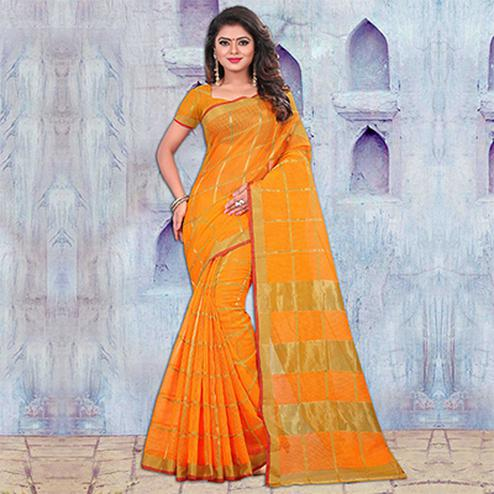 Yellow Festive Wear Manipuram Silk Saree