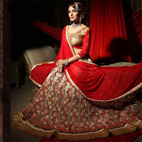 Gorgeous Off White Designer Embroidered Net Lehenga Choli
