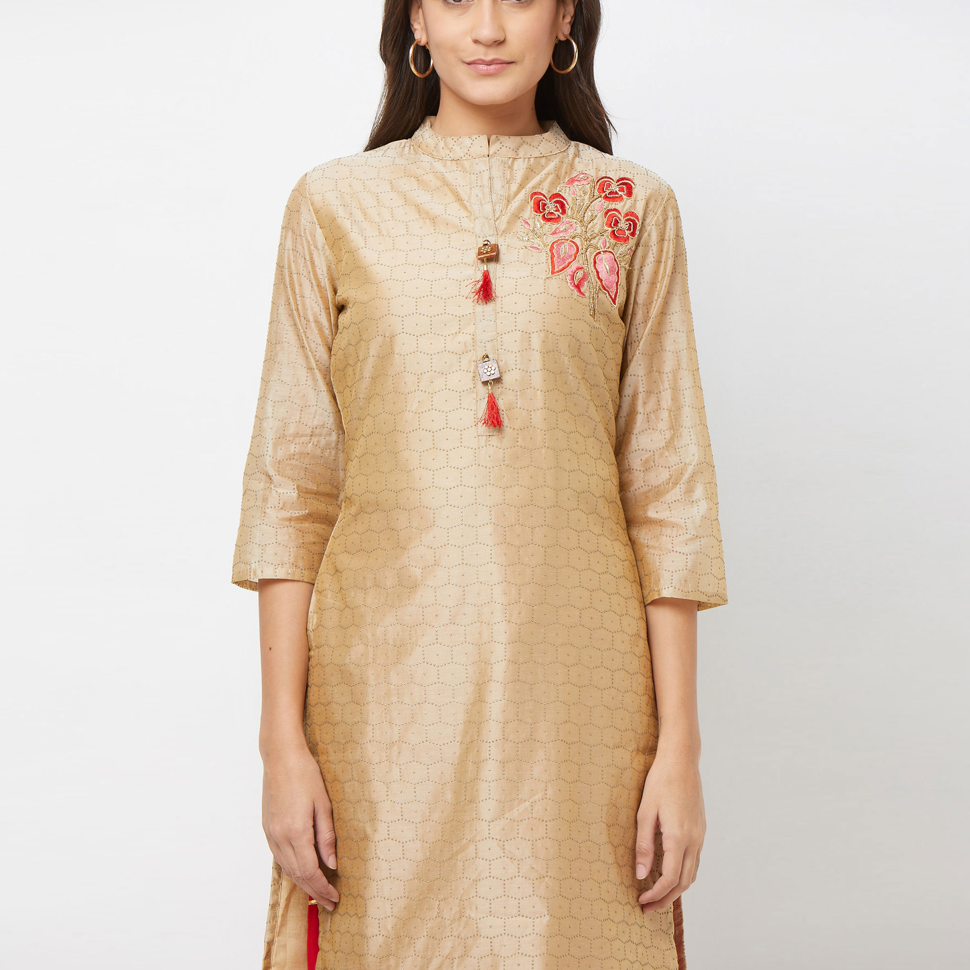 Elegant Cream Colored Partywear Embroidered Cotton Silk Palazzo Suit