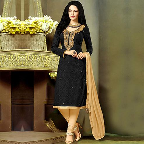 Sizzling Black-Beige Embroidered Jacquard Dress Material