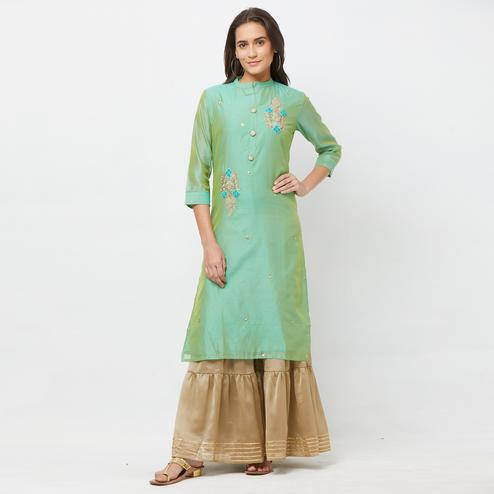 Graceful Green Colored Partywear Embroidered Cotton Silk Palazzo Suit