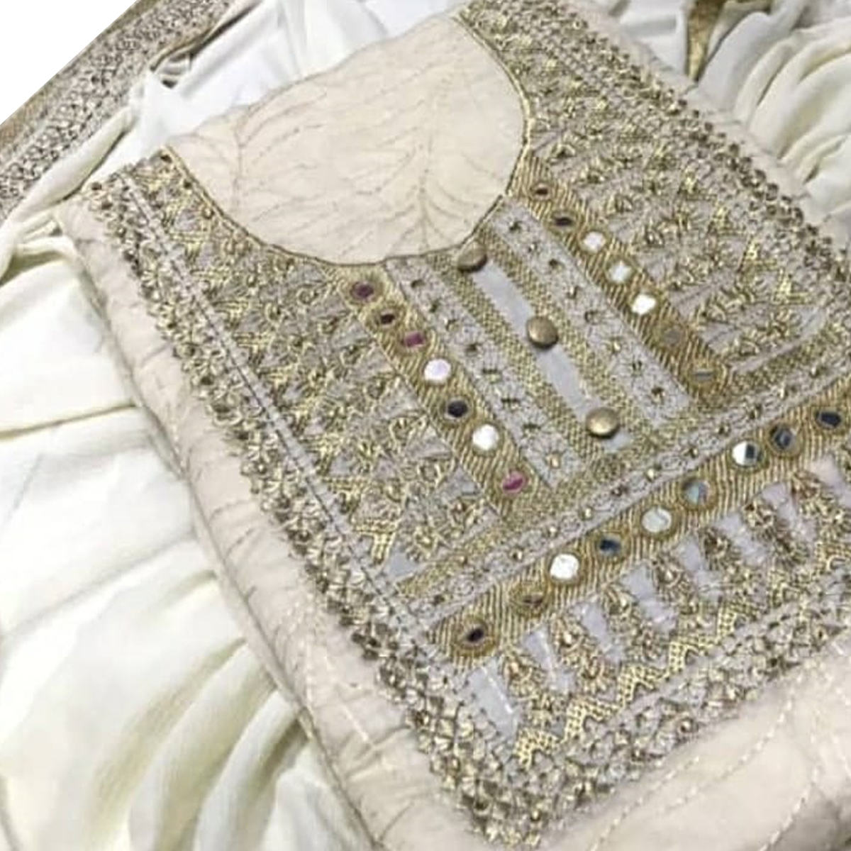 Classy Cream Colored Party Wear Embroidered Chanderi Silk Dress Material
