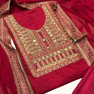 Alluring Red Colored Party Wear Embroidered Chanderi Silk Dress Material