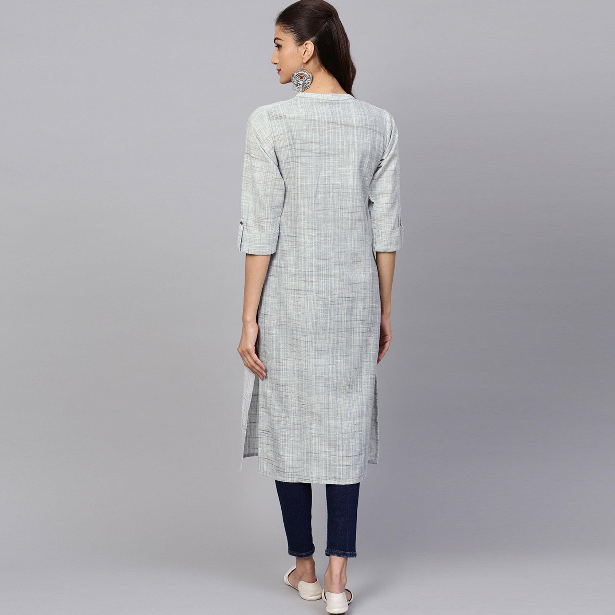Adorable Light Gray Colored Casual Embroidered Cotton Kurti