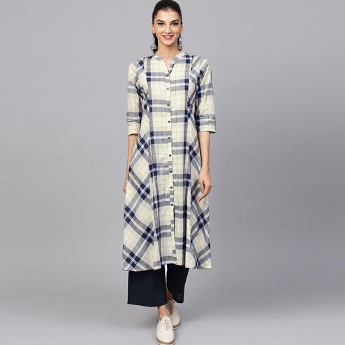 Glorious Cream-Navy Blue Colored Casual Printed Cotton Kurti
