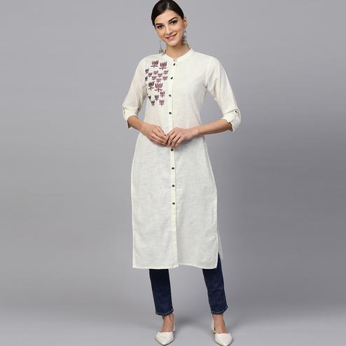 Attractive Off White Colored Casual Embroidered Cotton Kurti