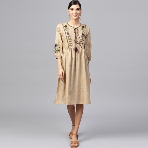 Blooming Beige Colored Partywear Embroidered Cotton Tunic