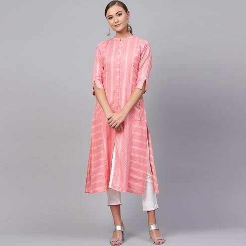 Charming Soft Pink Colored Casual Printed Cotton Kurti