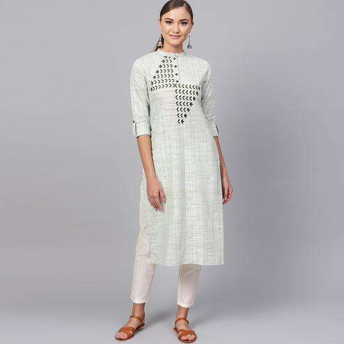 Jazzy Pastel Green Colored Casual Embroidered Cotton Kurti