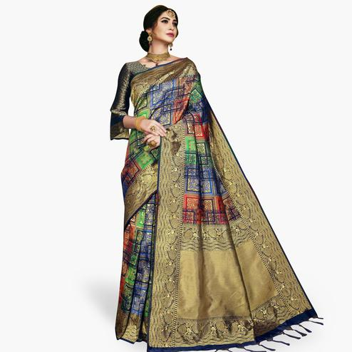 Energetic Multi Colored Festive Wear Woven Banarasi Silk Saree