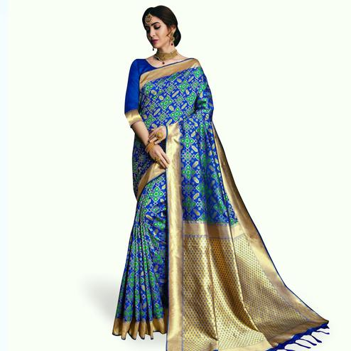 Exceptional Royal Blue Colored Festive Wear Woven Banarasi Silk Saree