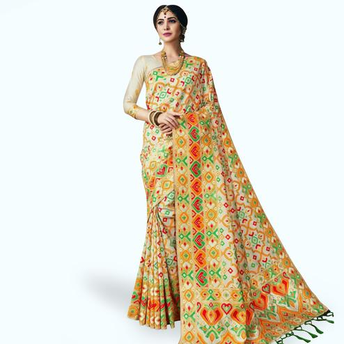 Mesmeric Cream Colored Festive Wear Woven Banarasi Silk Saree