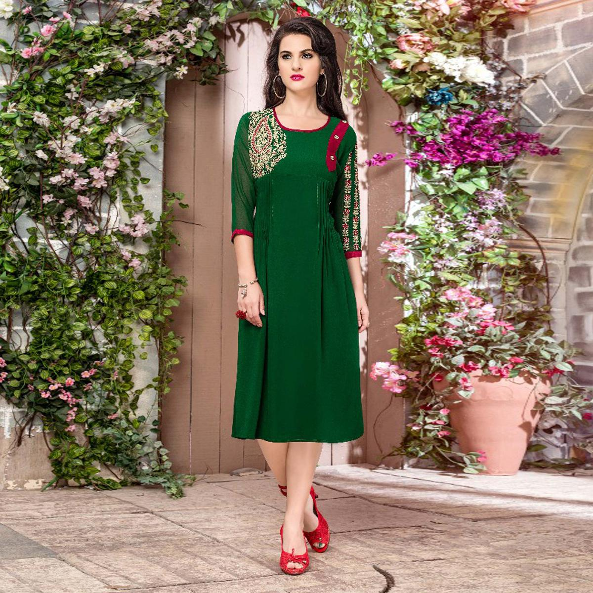 Green Georgette Embroidered Partywear Kurti