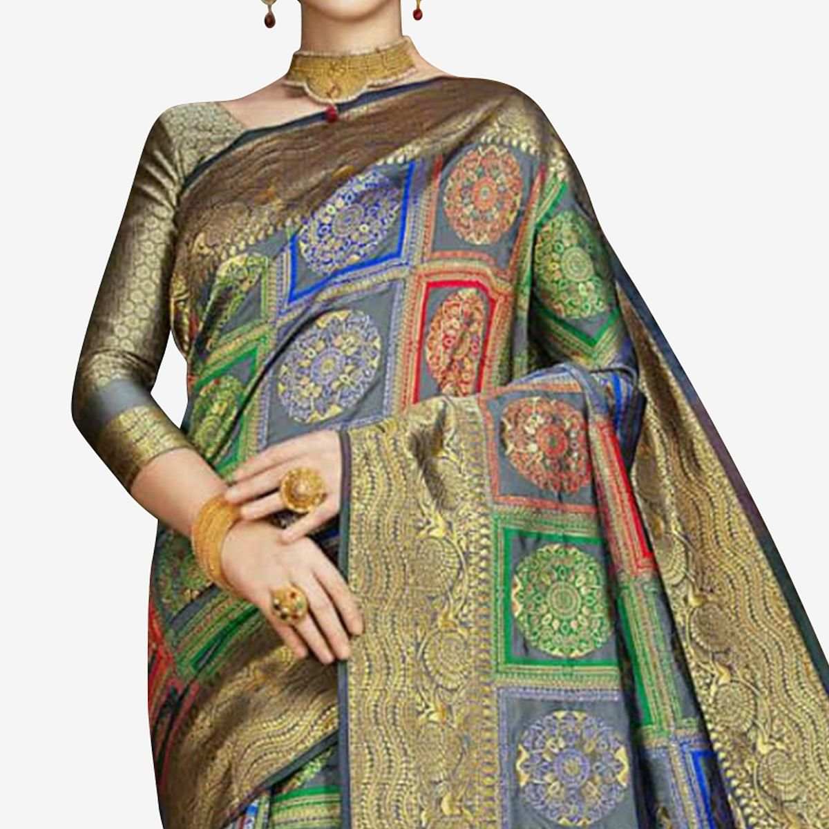 Demanding Multi Colored Festive Wear Woven Banarasi Silk Saree