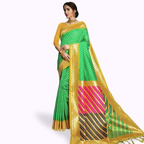 Magnetic Green Colored Festive Wear Woven Banarasi Silk Saree