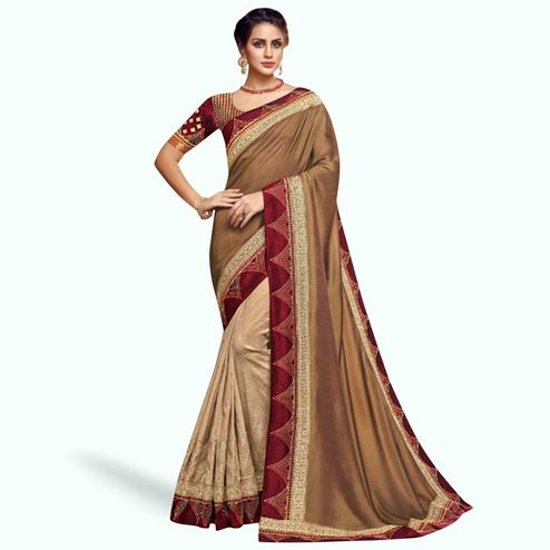 Radiant Beige-Brown Colored Partywear Embroidered Satin Georgette Saree