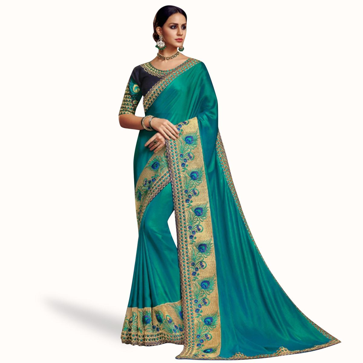 Pleasant Rama Green Colored Partywear Embroidered Satin Georgette Saree