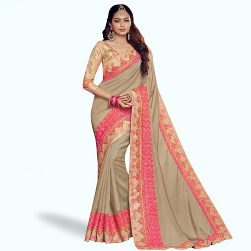 Energetic Beige Colored Partywear Embroidered Satin Georgette Saree