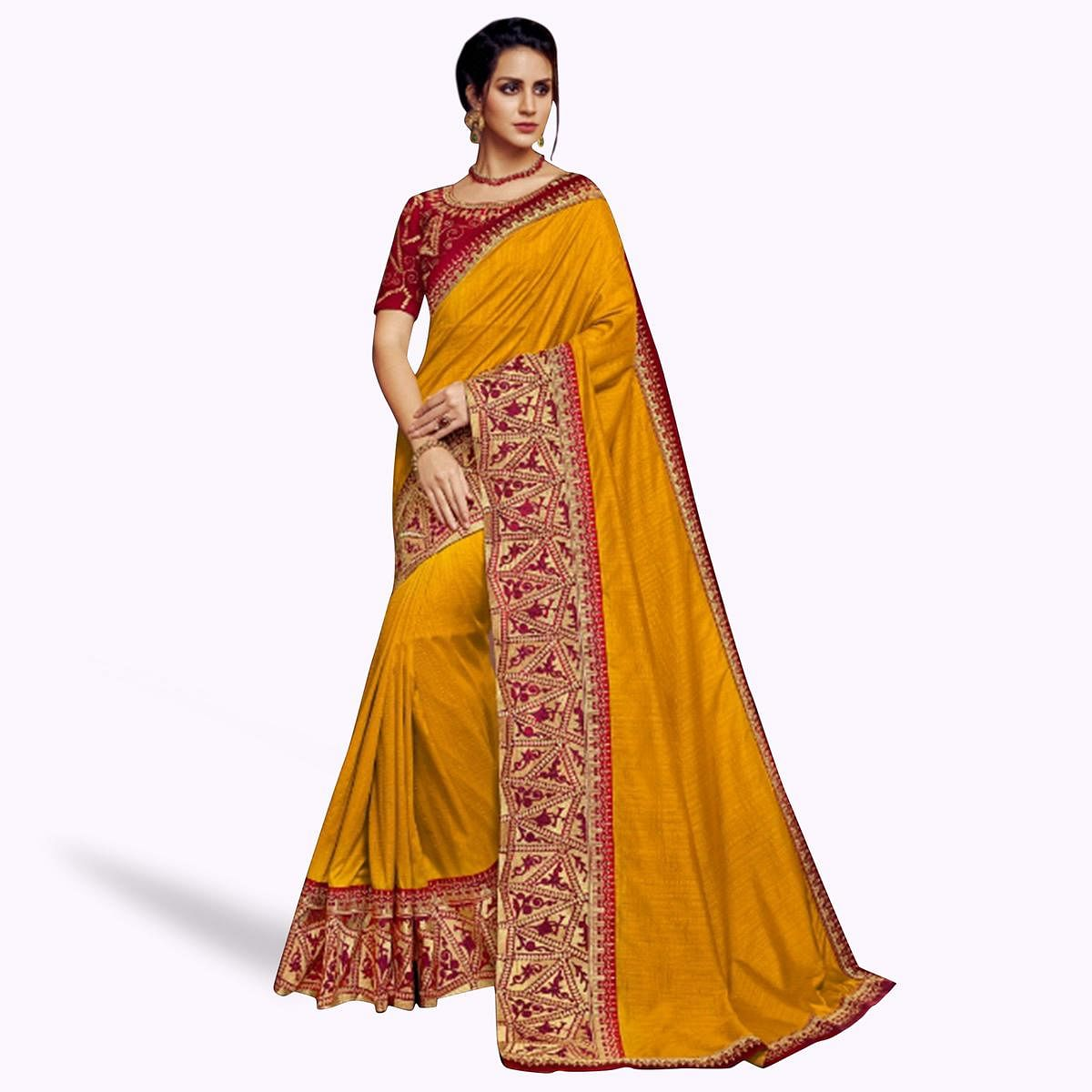 Glowing Mustard Colored Partywear Embroidered Satin Georgette Saree