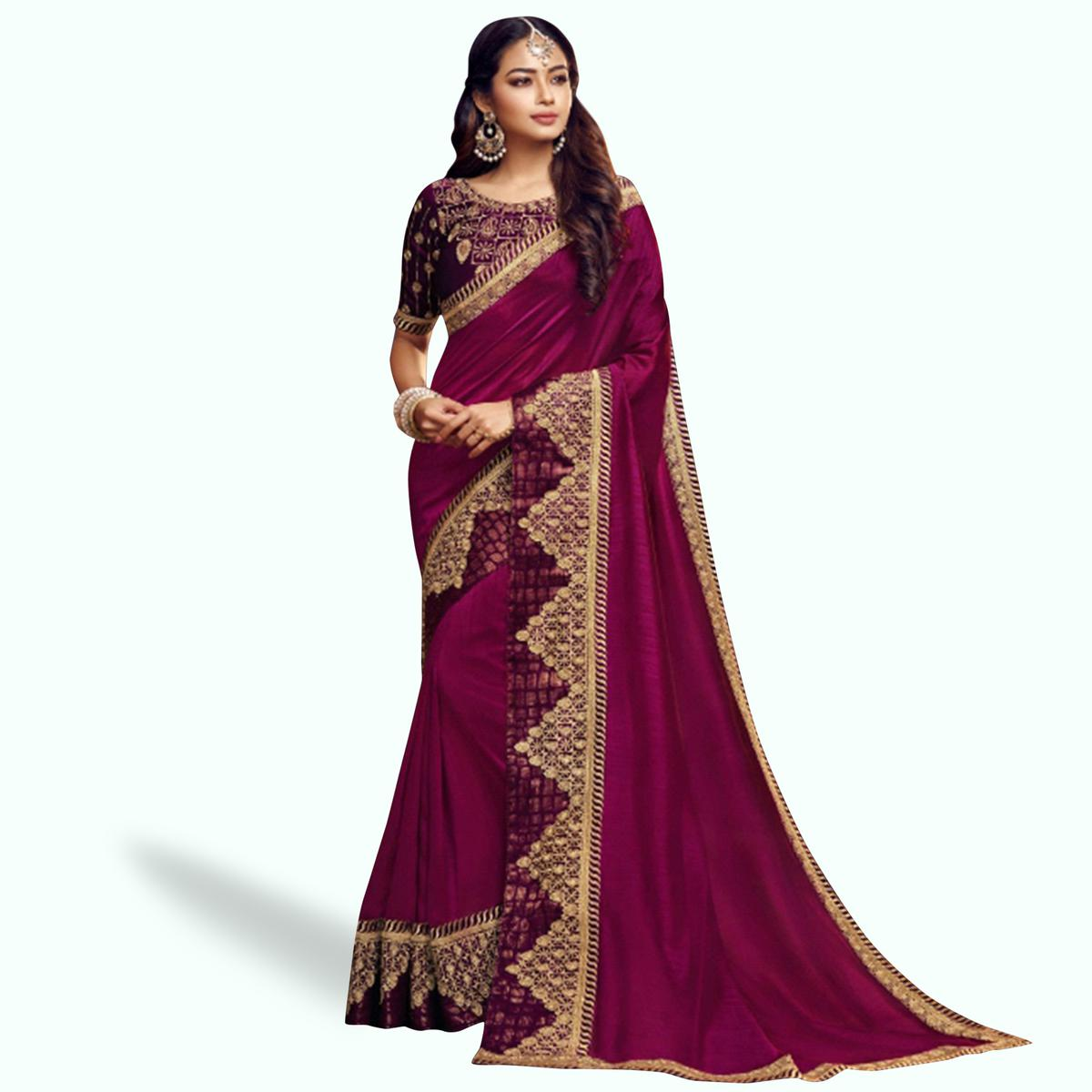 Gleaming Magenta Pink Colored Partywear Embroidered Satin Georgette Saree