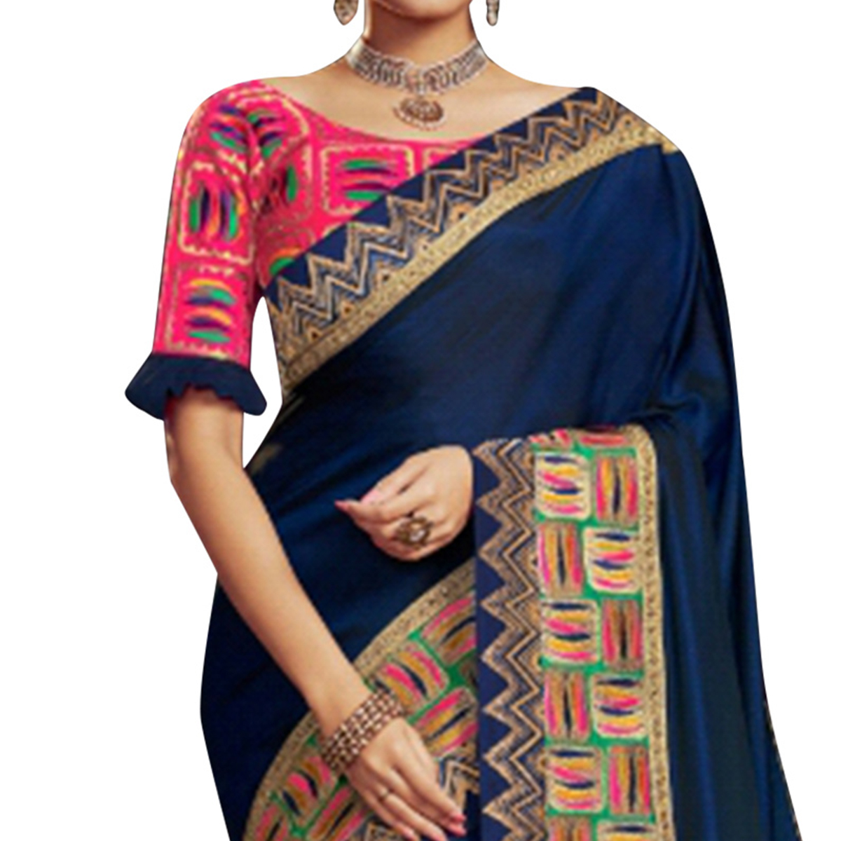 Mesmeric Navy Blue Colored Partywear Embroidered Satin Georgette Saree
