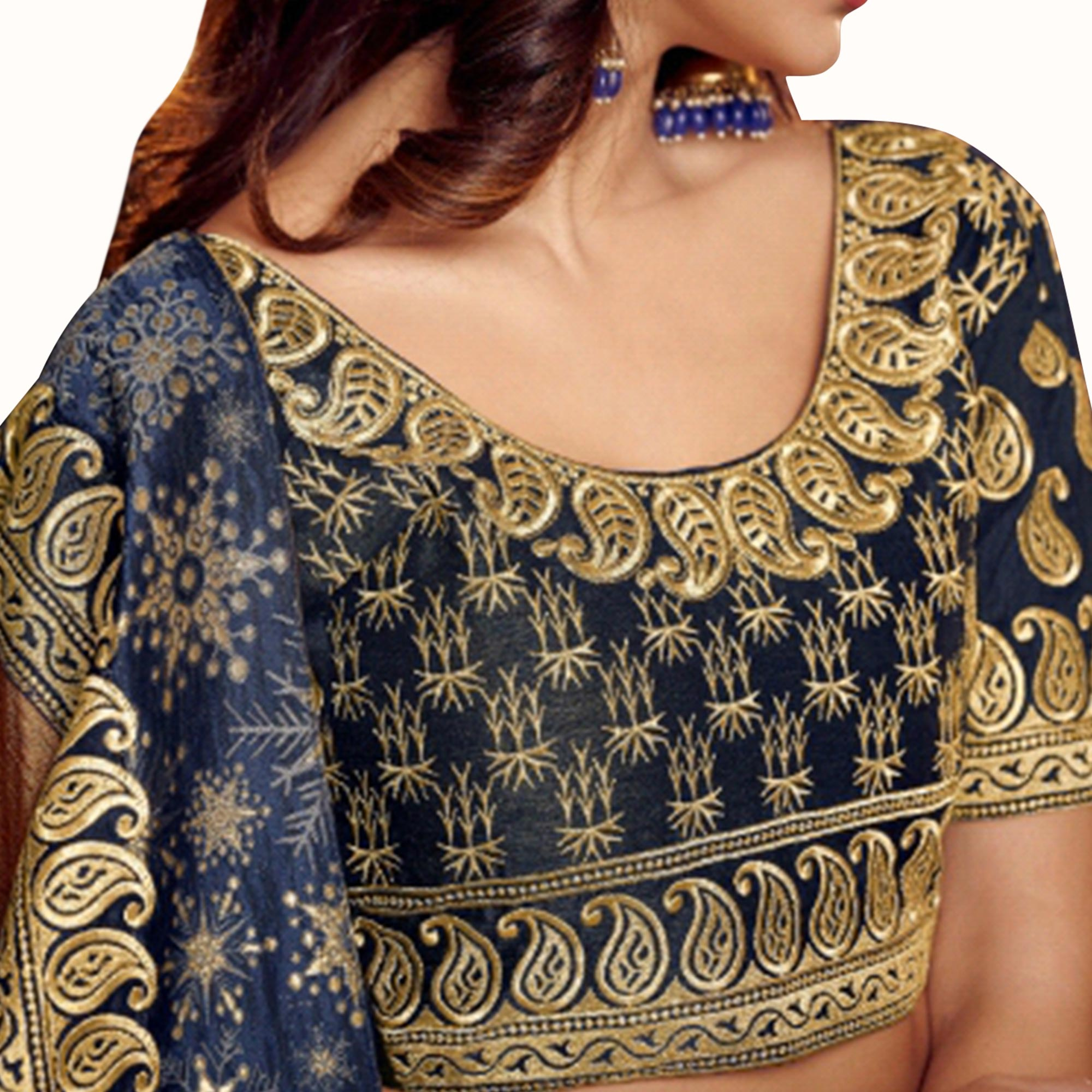 Demanding Navy Blue-Brown Colored Partywear Embroidered Satin Georgette Saree