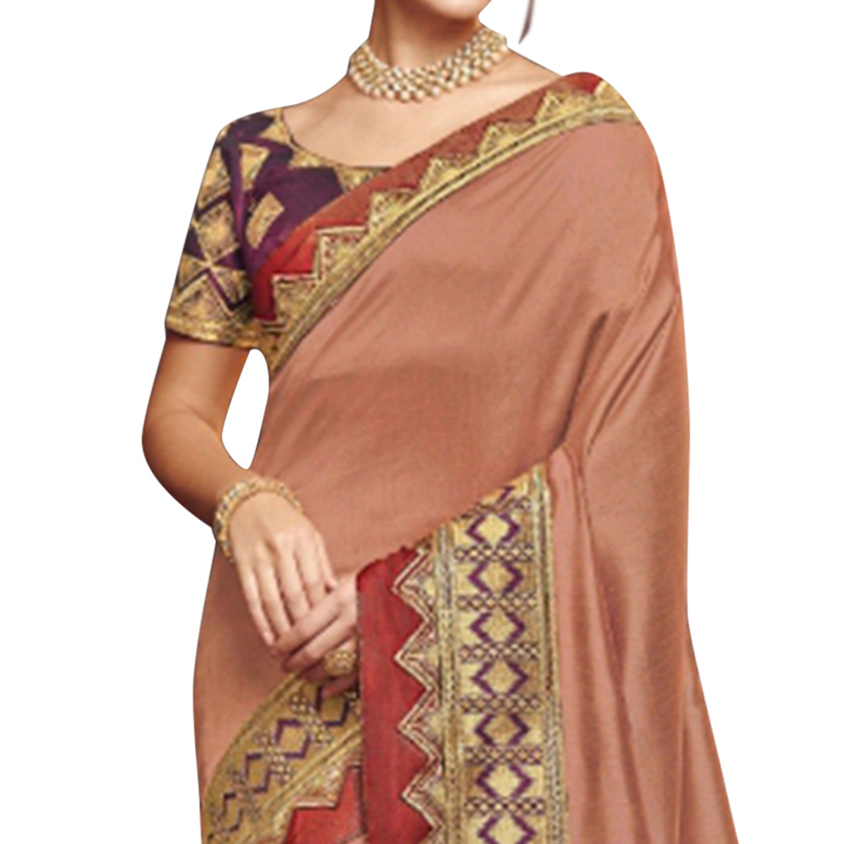 Refreshing Peach Colored Partywear Embroidered Satin Georgette Saree