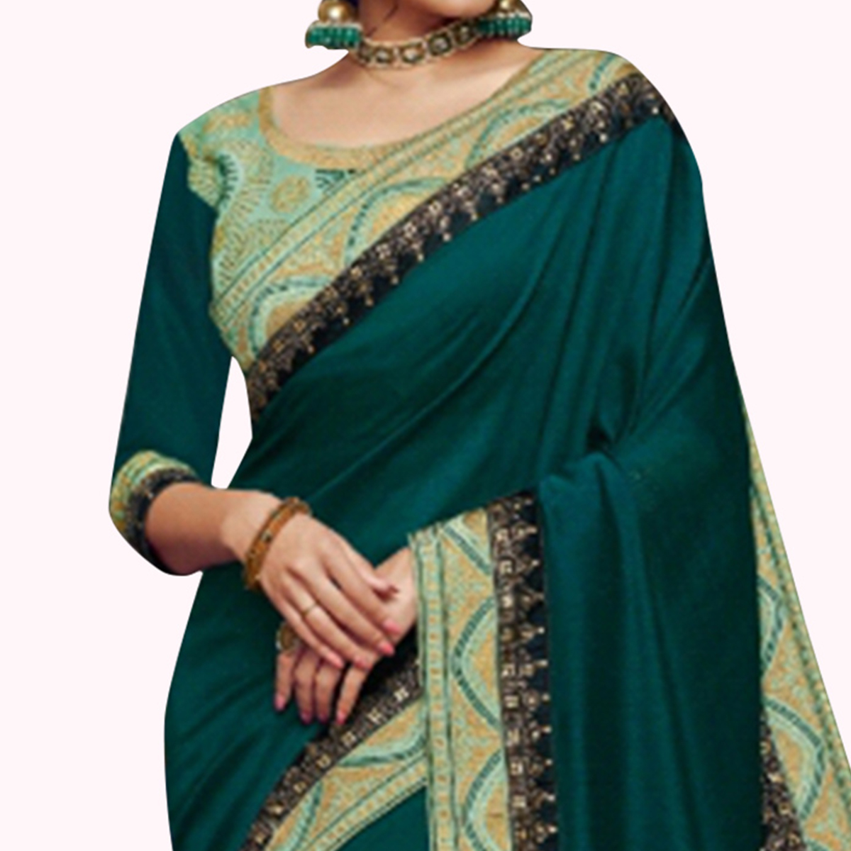 Flattering Teal Green Colored Partywear Embroidered Satin Georgette Saree
