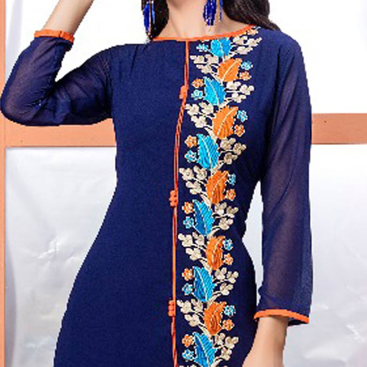 Blue Georgette Embroidered Partywear Kurti