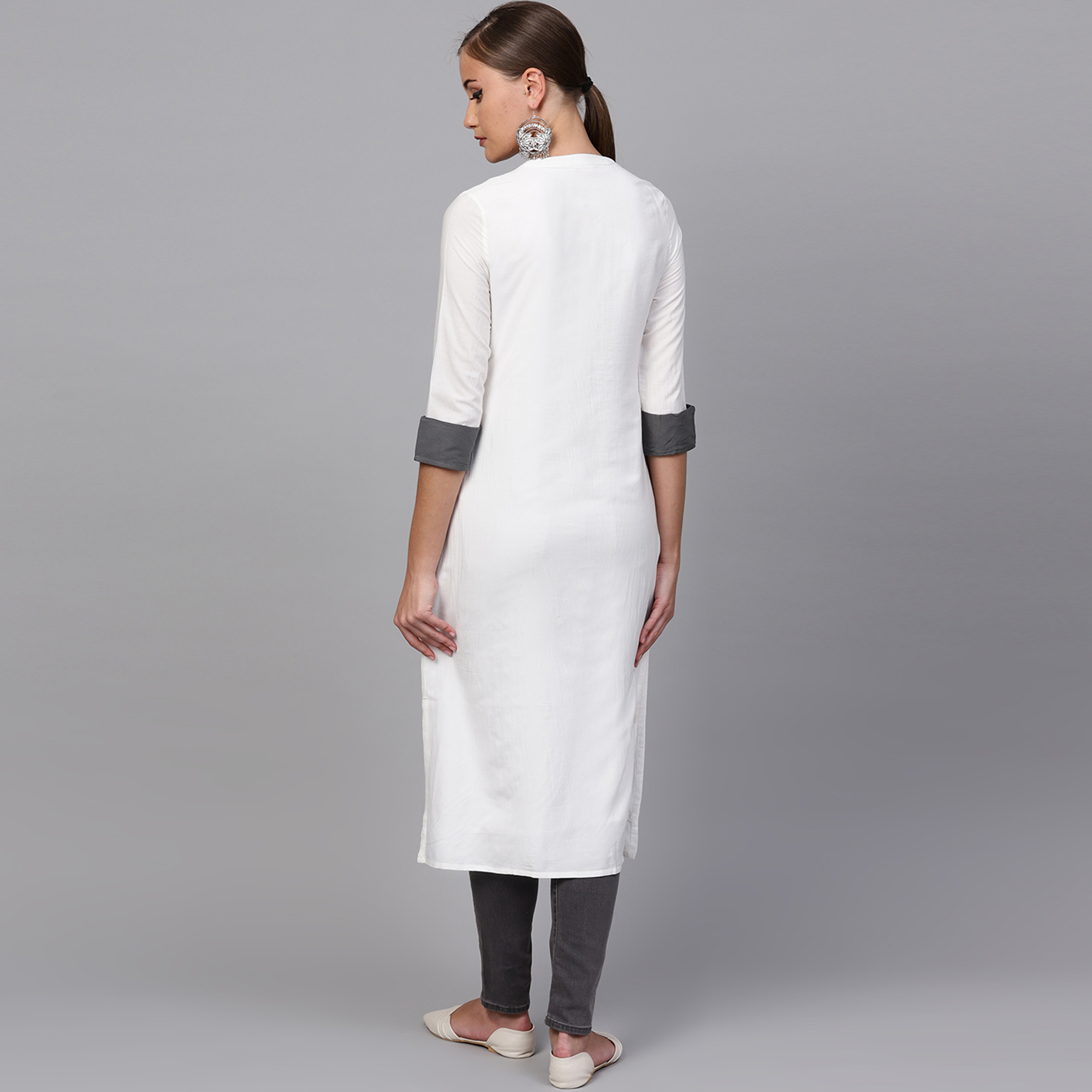 Eye-catching White Colored Casual Embroidered Polyester Kurti