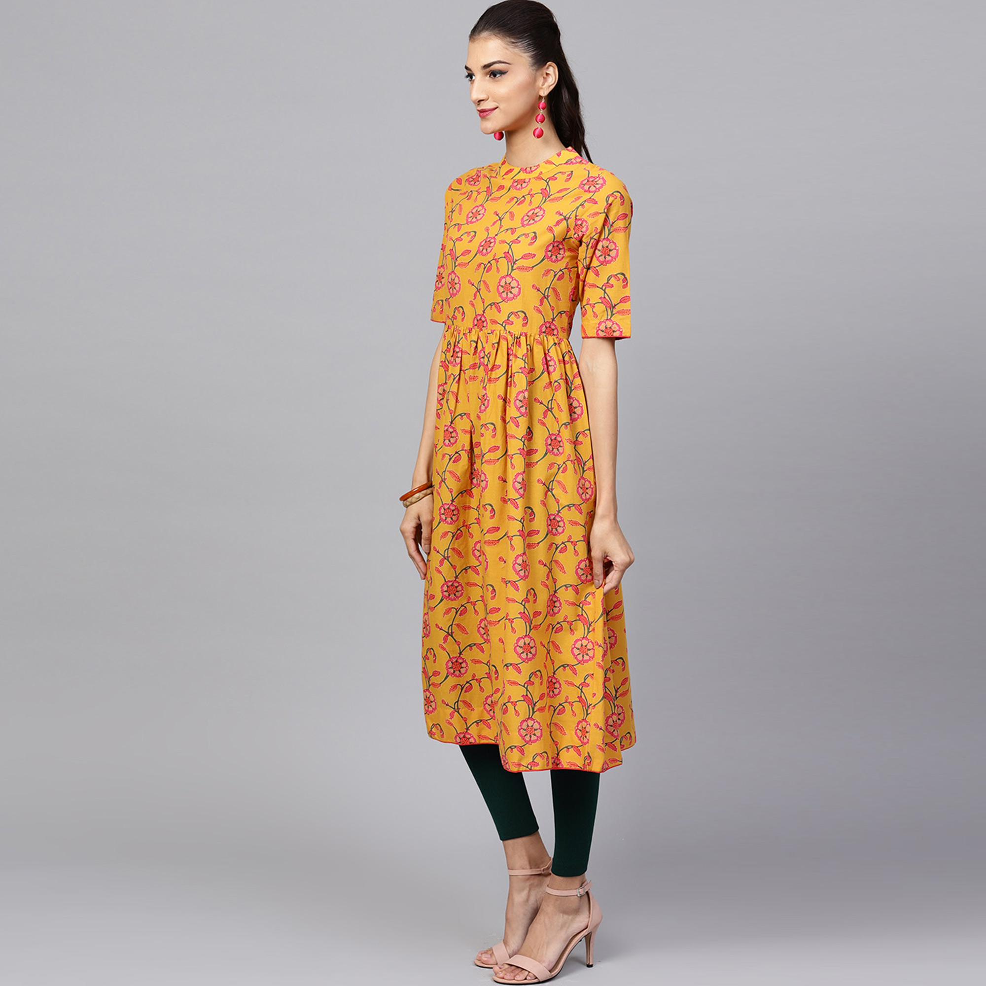 Fantastic Mustard Yellow Colored Casual Printed Cotton Kurti