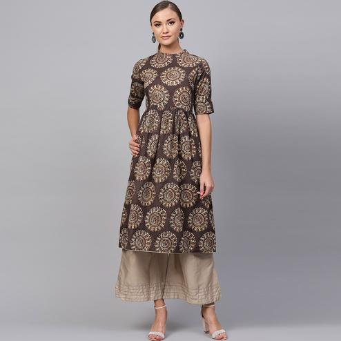 Amazing Dark Brown Colored Casual Printed Cotton Kurti