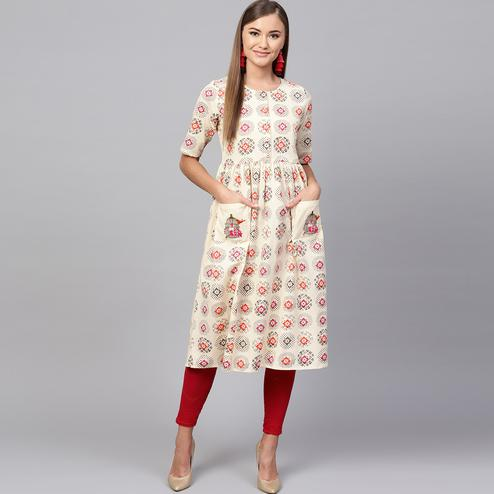 Blissful Cream Colored Casual Printed Cotton Kurti
