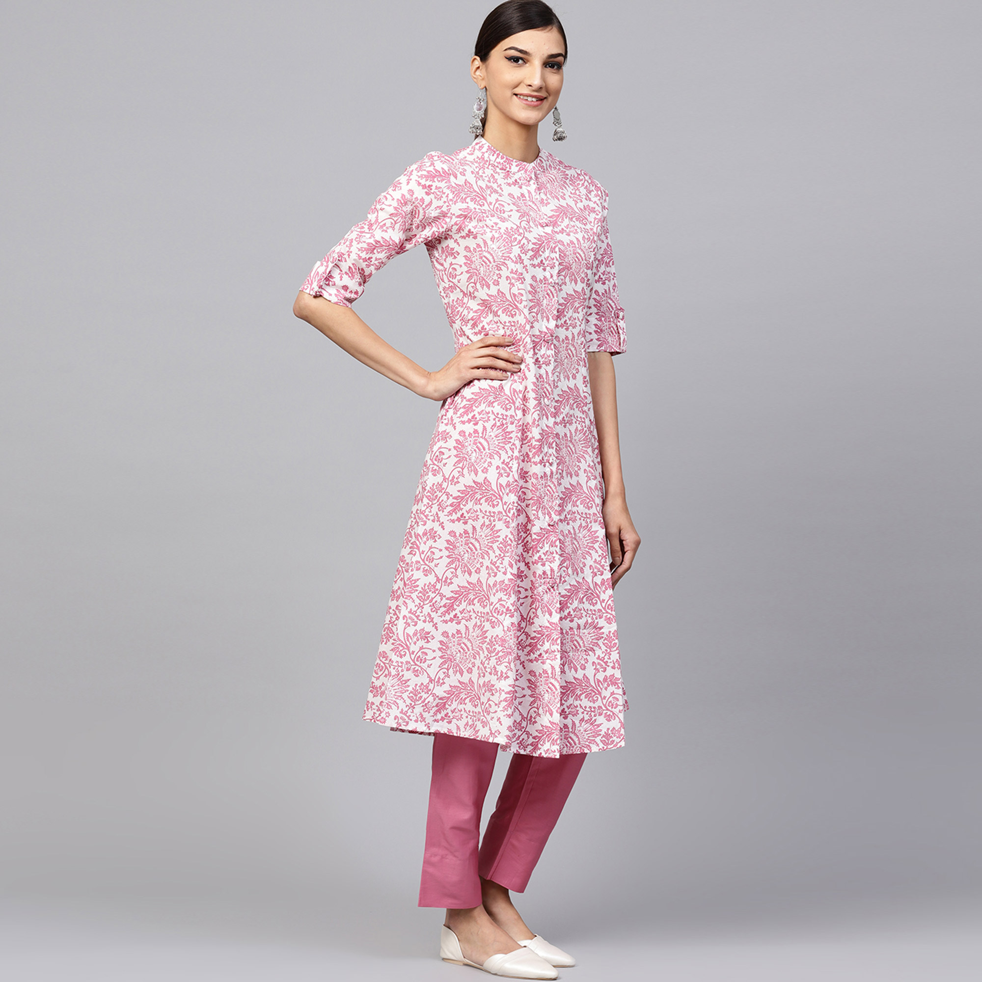 Ideal White-Pink Colored Casual Printed Cotton Kurti