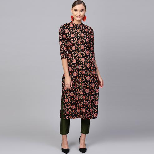 Imposing Black-Pink Colored Casual Printed Cotton Kurti