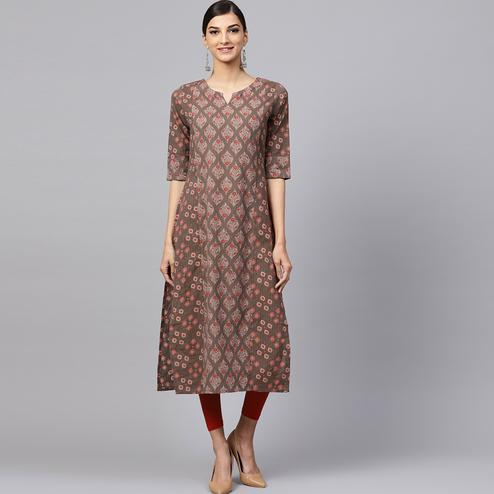 Majesty Brown Colored Casual Printed Cotton Kurti