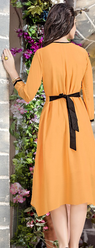 Light Orange Georgette Embroidered Partywear Kurti